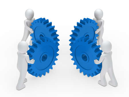 3d man teamwork circle with blue gear Stock Photo - 11312829