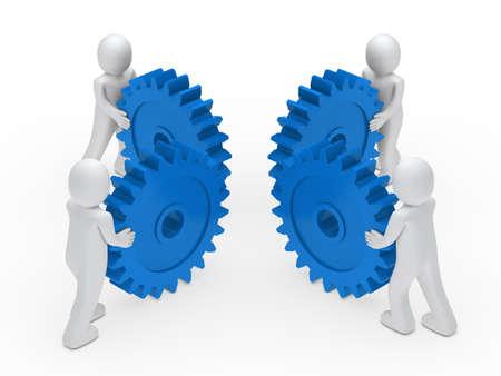 3d man teamwork circle with blue gear Stock Photo - 11312829