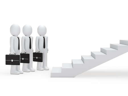 3d three businessmen with briefcase for stairs Stock Photo - 11312801