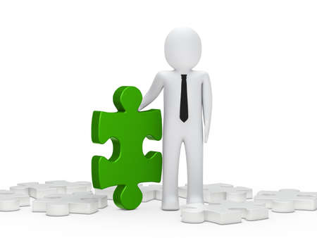 3d business man hold a puzzle green photo