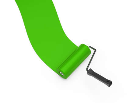 redecorate: 3d paint roller green color ground white
