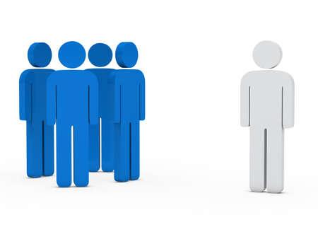 people development: 3d business team white success leader blue
