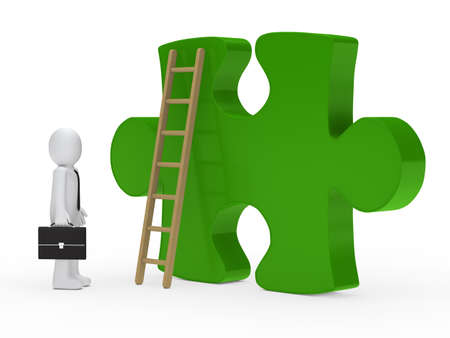 merge: Businessman stand for a big green puzzle