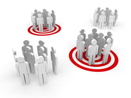 target market: People in group stand in red target