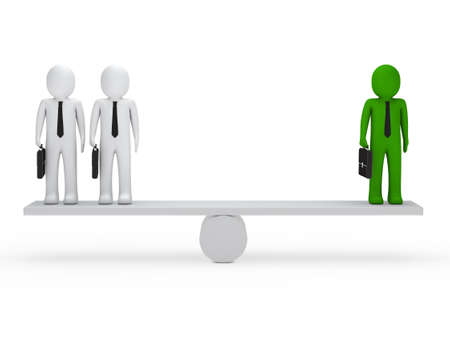 heavy weight: business men with briefcase green balance seesaw Stock Photo