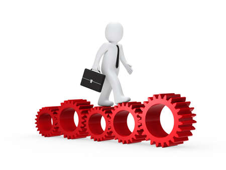 businessman with briefcase go on red gear photo