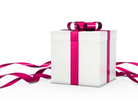 Christmas gift box white with pink ribbon Stock Photo - 11717273