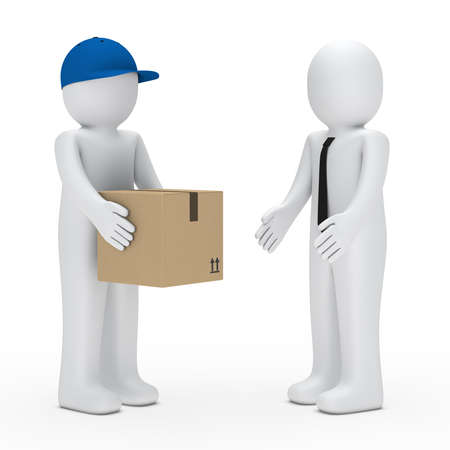 delivery box: Man with cap give a businessman package Stock Photo