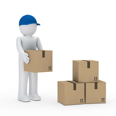 storage container: Man with blue cap stack brown package