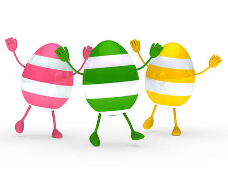 three colorful easter eggs with streak wave go photo