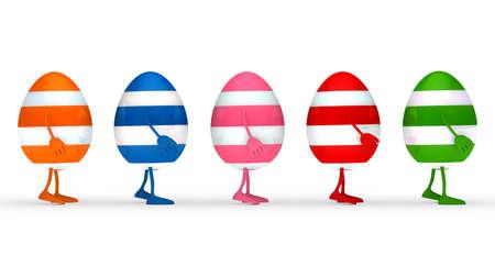 streak: colorful estern eggs go in a series