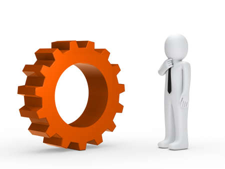 mechanical energy: Business man with tie orange mechanical gear Stock Photo