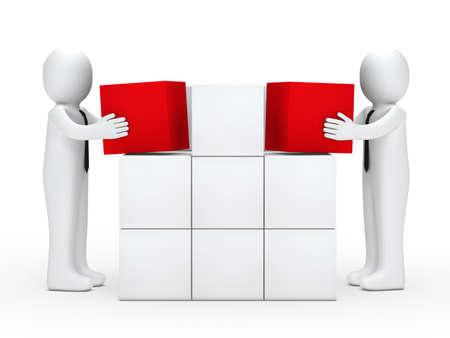 Twee zakenlieden met gelijkspel stapel rode blokjes Stockfoto