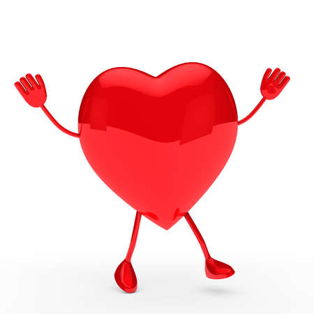 glossy red valentine heart wave and jump Stock Photo - 11838708