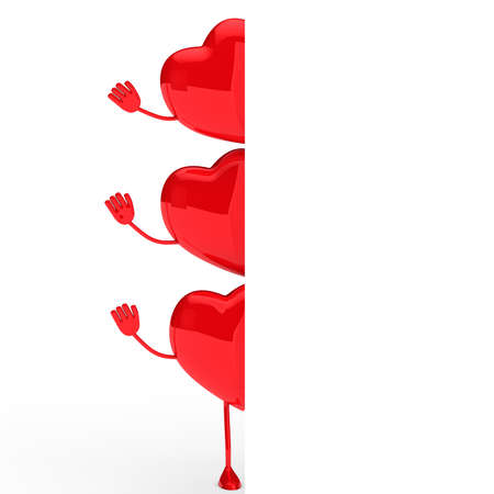 glossy red valentine hearts wave behind wall Stock Photo - 11838701