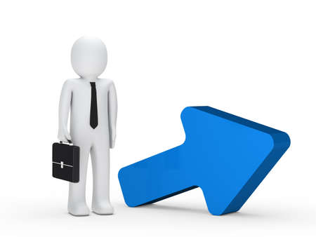 effort: businessman with briefcase stand next blue arrow
