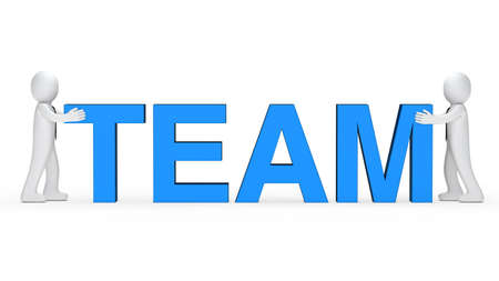 business men push blue team word together Stock Photo - 11838707