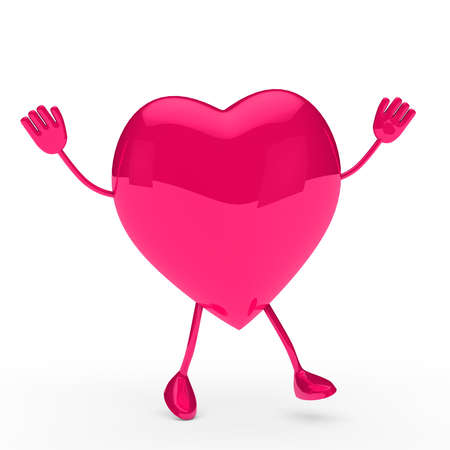 glossy pink valentine heart wave and jump Stock Photo - 11838744