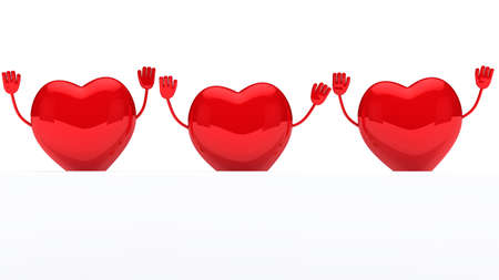 glossy red valentine hearts wave behind wall Stock Photo - 11838745