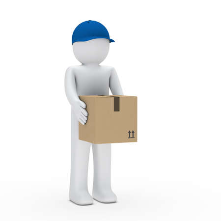 Man with blue cap hold brown package  photo