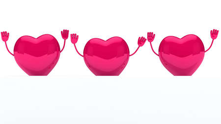paramour: glossy pink valentine hearts wave behind wall