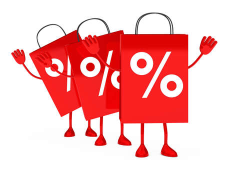 Red sale percent bags stand and wave  photo