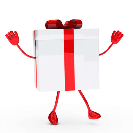 gift box with feets and hands wave  Stock Photo