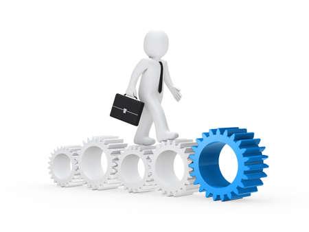 maquinaria: hombre de negocios con malet�n seguir con el equipo
