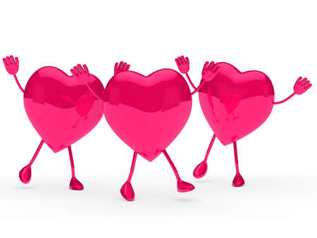 glossy pink valentine hearts wave and jump Stock Photo - 11961084