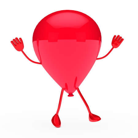 red party balloon stand and wave hands photo