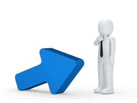 small business: Business man stand next a blue arrow