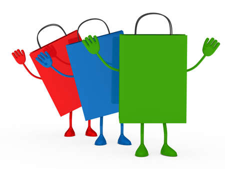 Colorful sale percent bags stand and wave  photo