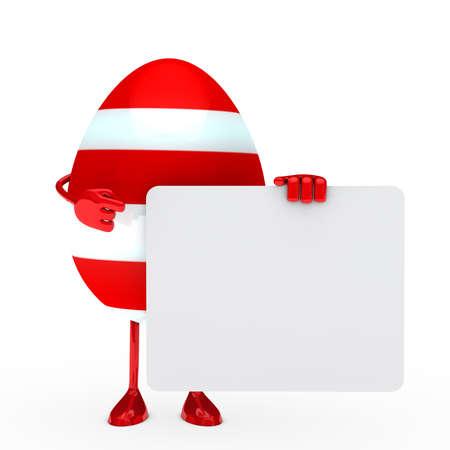 pasqua cristiana: red easter egg in possesso di un cartellone bianco