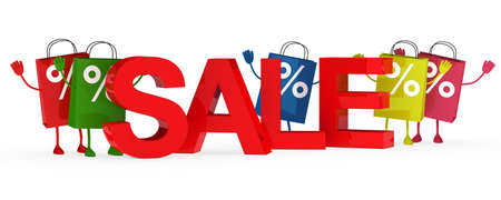 colorful sale bags wave behind sale word Stock Photo - 12025232