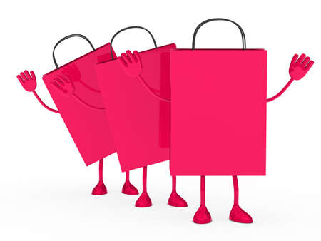 Pink sale percent bags stand and wave  photo