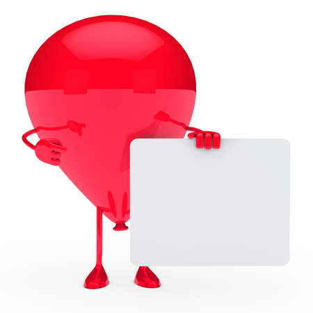 air show: red party balloon shows finger on billboard  Stock Photo