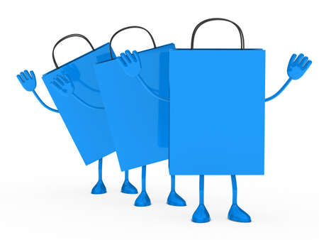 Blue sale percent bags stand and wave  photo