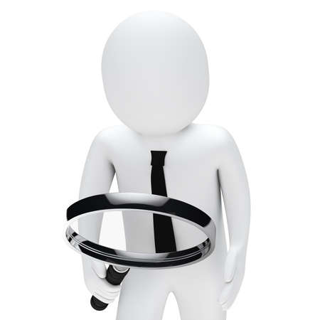Businessman hold and look chrome magnifying glass photo