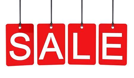 Red sale label hanging on black line photo