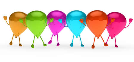 baloon: Colorful Party balloons stand and wave hands Stock Photo