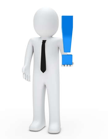 business man hold a blue exclamation mark photo