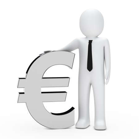 Businessman with tie hold a chrome euro photo