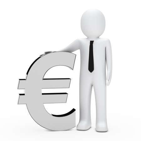 petit bonhomme: Homme d'affaires avec une cravate tenir un euro chrome