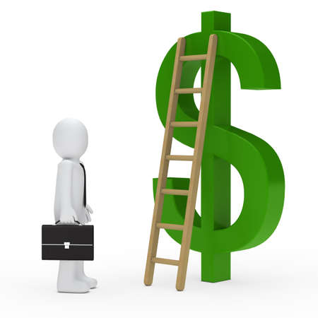 business man briefcase tie ladder dollar green photo