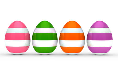 withe: colorful eggs with stripe on withe ground