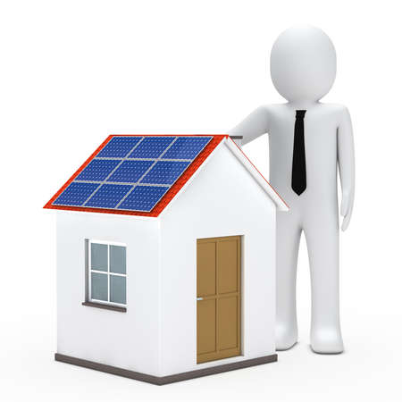 3d small people: businessman stand next a house with solar