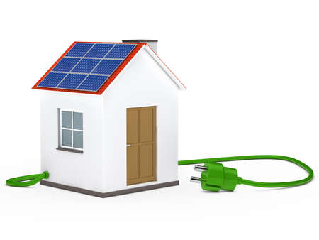 energy work: solar house with green plug cable inside Stock Photo