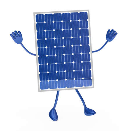 solar equipment: blue solar figure was happy and jump