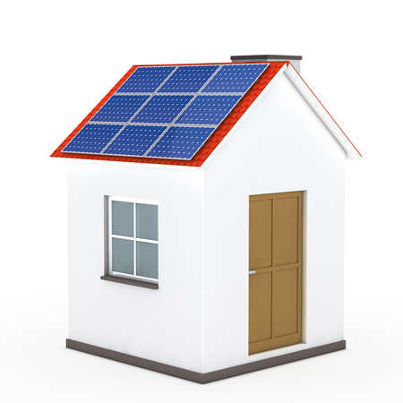 withe: house with solar panel on withe background Stock Photo