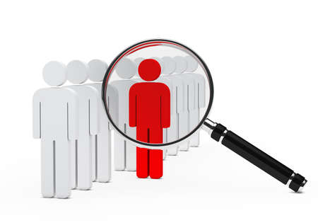 an individual: team in serie red leader magnifying glass Stock Photo
